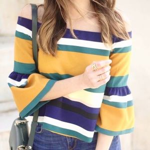 Zara Striped Off The Shoulder Flared Sleeve Top M